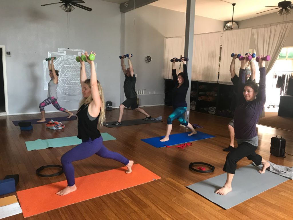 Yoga Sculpt Class with Weights in the air