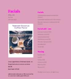 Full Service menu