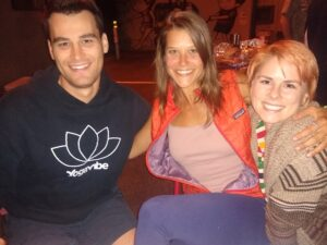Featured here, three rock star teachers at Carlsbad Village Yoga studio: Andrew, Cora and Beth.